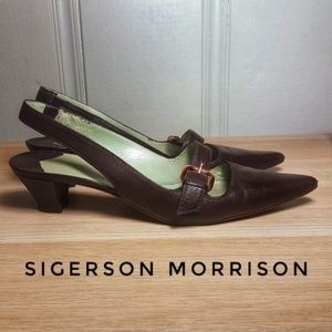 Sigerson Morrison Brown Leather Slingbacks